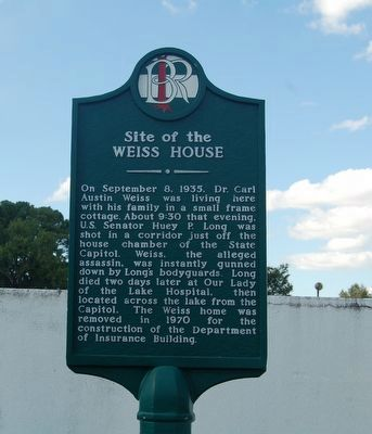 The historical marker near the site where Weiss' home once stood.