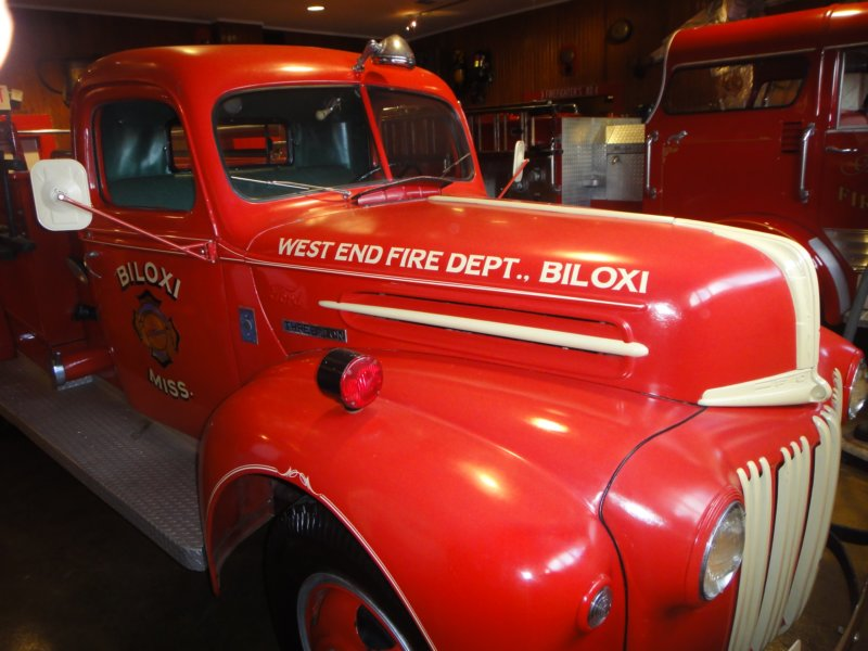 One of the fire trucks on display