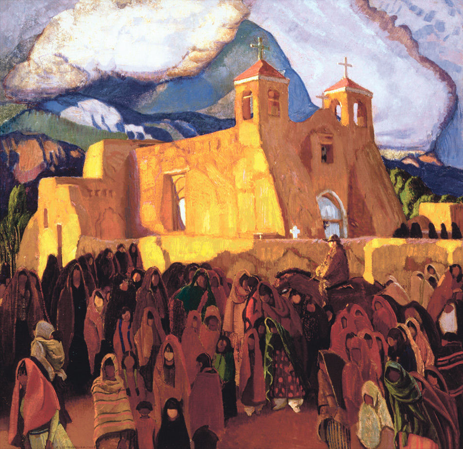 """Rancho de Taos Church,"" an oil painting by Blumenschein painted sometime in the 1920s."