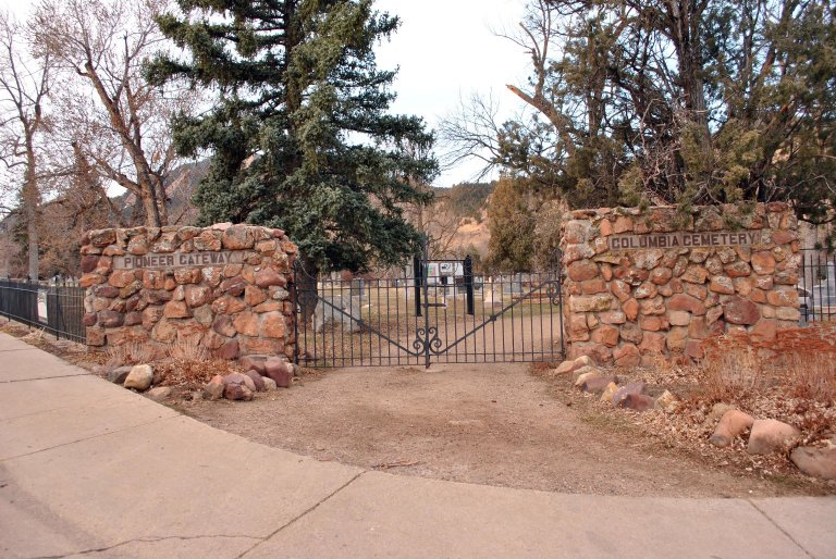 "Main gate of cemetery- ""Pioneer Gate"""