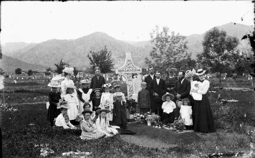 Boulder residents in cemetery circa 1880s-1890s