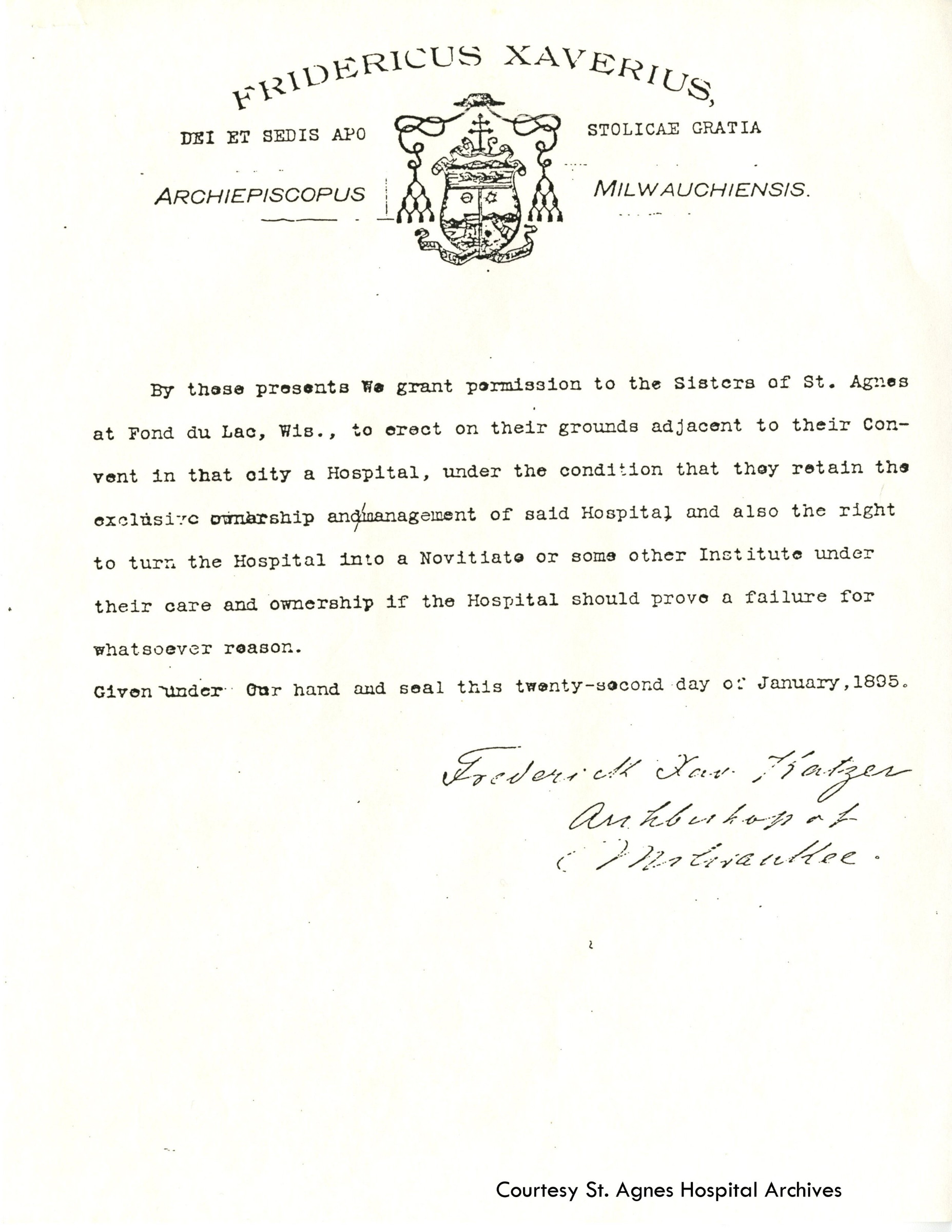 Proclamation from Archbishop Katzer approving construction of St. Agnes Hospital by Sisters of St. Agnes, 1895.