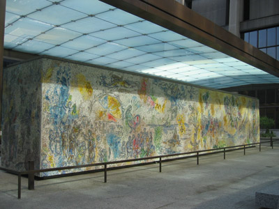 "A view of Chagall's ""Four Seasons"" mosaic (east side)"