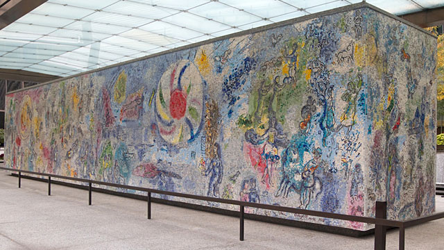 "A view of Chagall's ""Four Seasons"" mosaic (west side)"