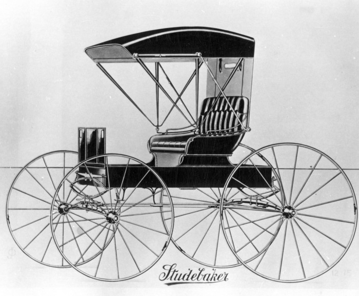 A Studebaker buggy from the early 1890s, one of many models that would have been on display at this building prior to its conversion to artist studios.