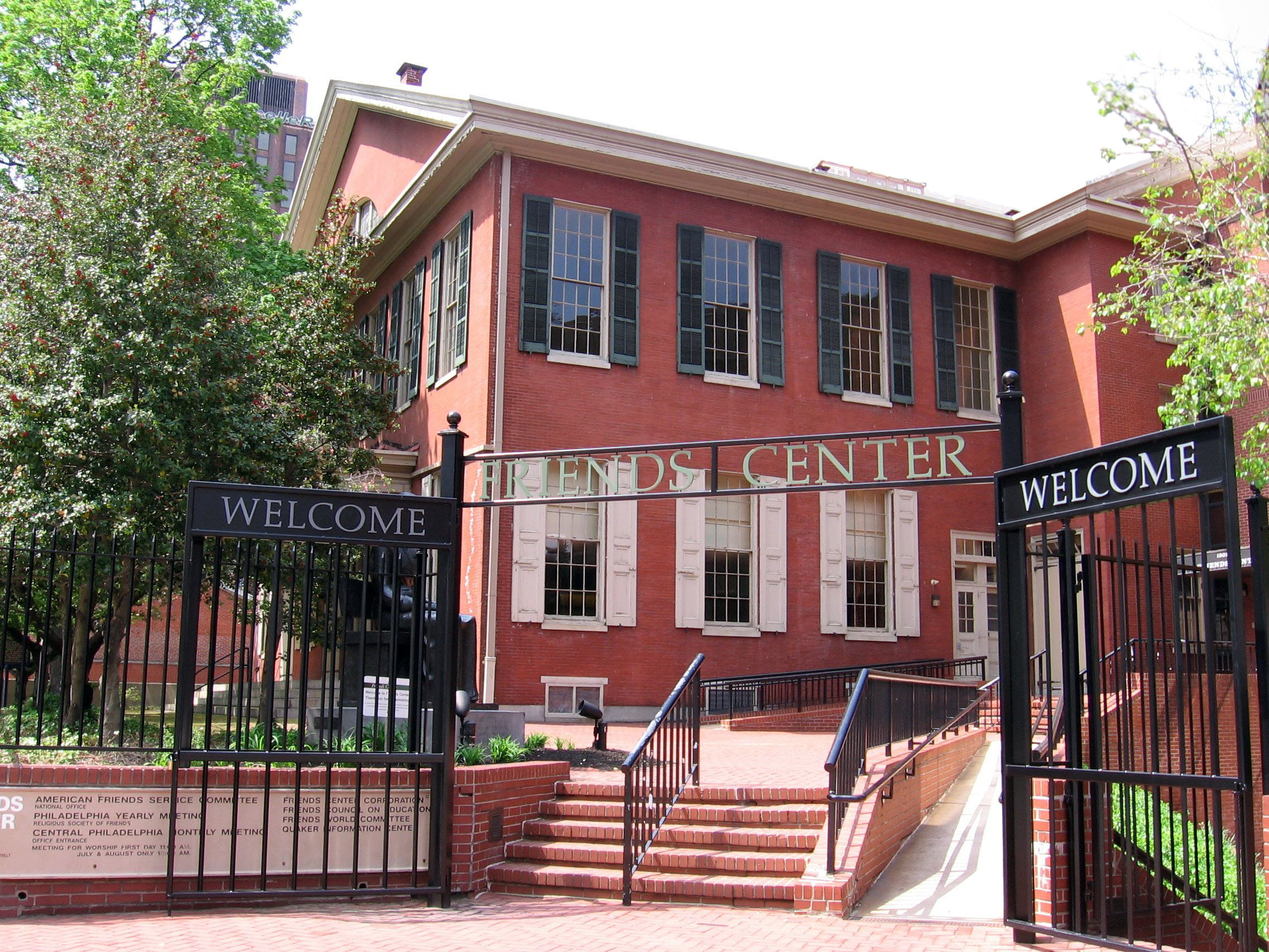 The entrance to the modern Race Street Friends Center.  The meetinghouse, built in 1856, is on the left.