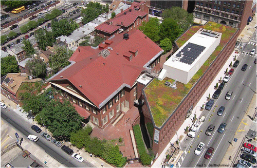 "An aerial shot of the Friends Center.  The large meetinghouse is on the left and the modern edition, camouflaged by its ""green"" roof, sits off the right."