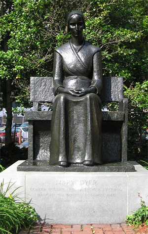 The statue of Quaker martyr,Mary Dyer, that sits on the grounds of the Friends Center.  A similar statue sits in Boston and also honors her devotion to her religious conscience.