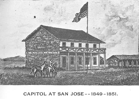 Engraving of the original Capitol Building (image from California State Library)