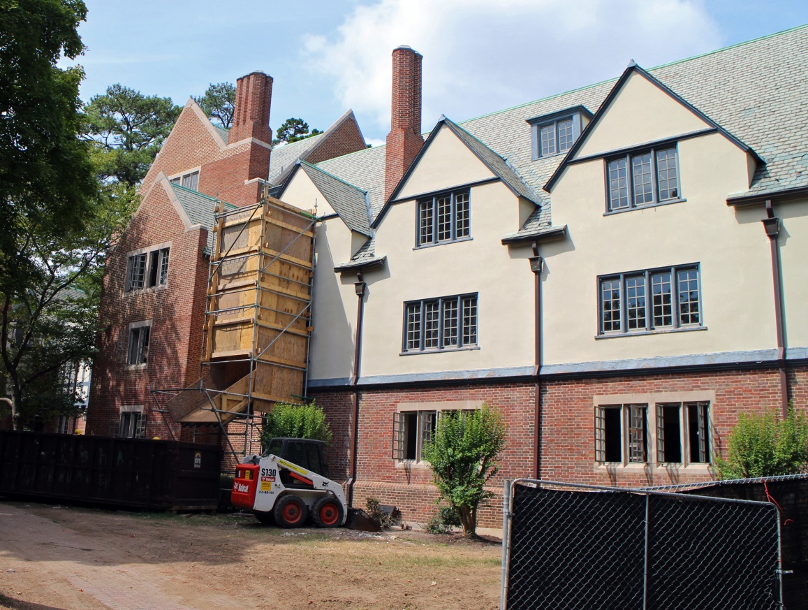 Jeter Hall as it underwent renovations to have suite-style dorms in 2014.