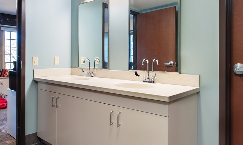 One of the suite-style bathrooms in the building's recently renovated dorms.