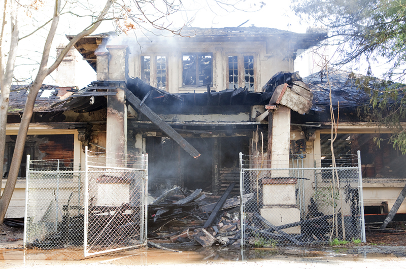 Damage to the Kelley House in a 2012 fire (image from CBS San Francisco)