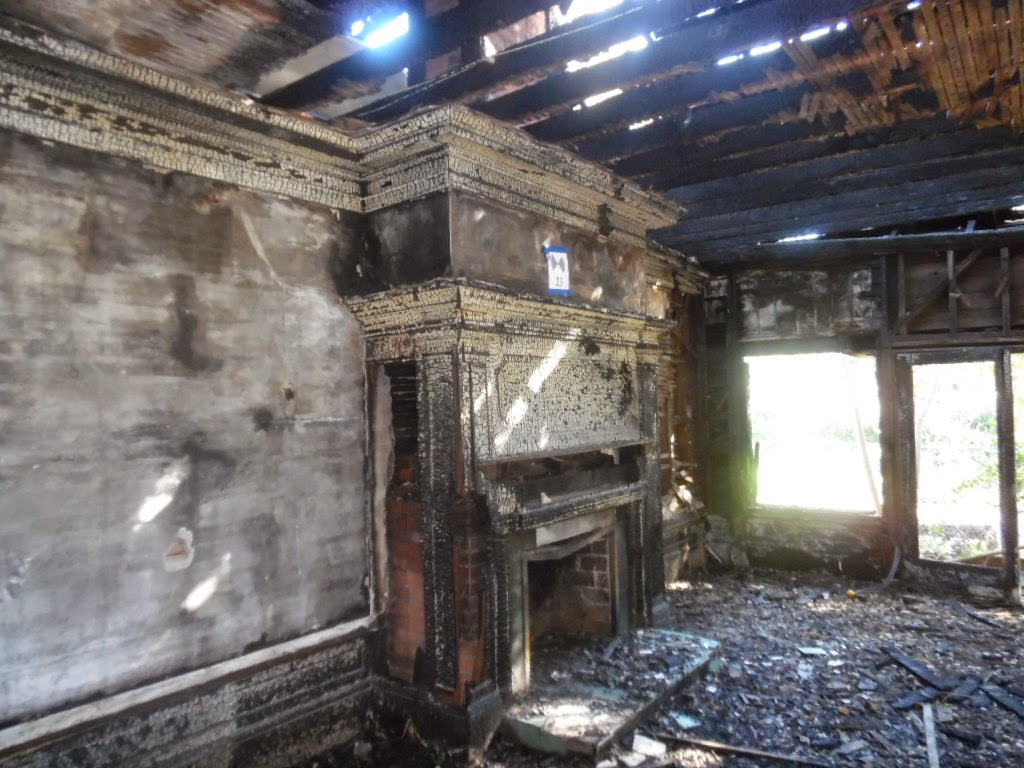 Post-fire photograph of the Kelley House interior (image from VDA Group)