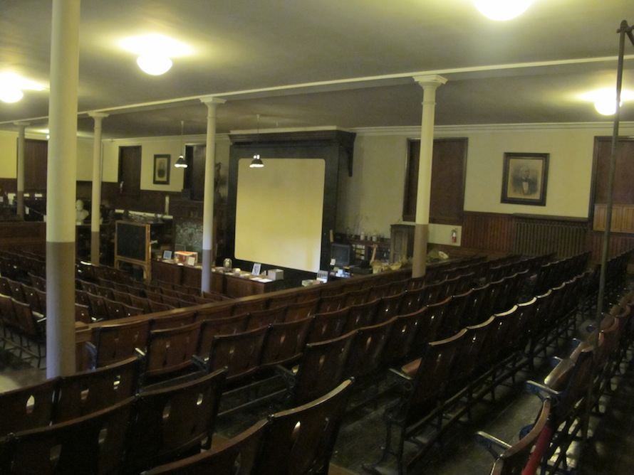 The institute's lecture hall is still used today as is its antique glass lantern which is used to display the library's slide collection.