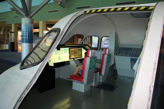 The flight simulator can hold up to 15 people.