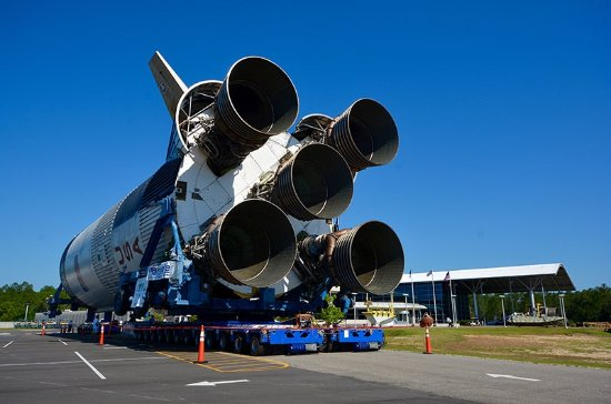 The massive Saturn V engines and a portion of the rocket itself