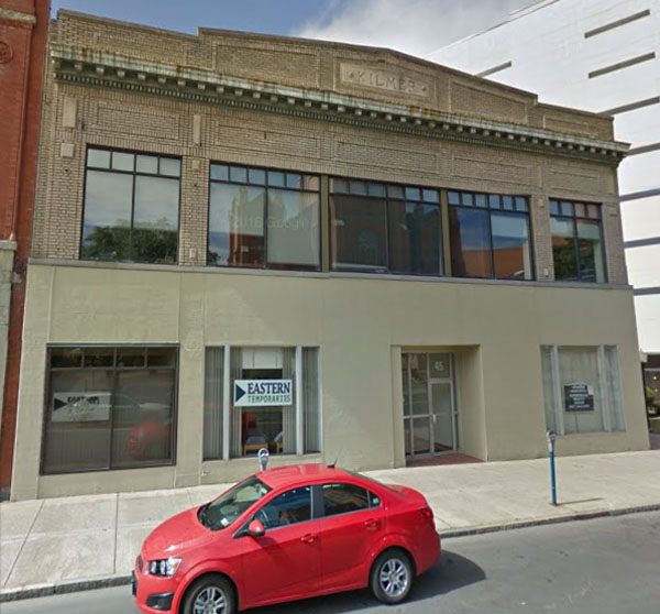 43 Chenango Street, Binghamton, as it appears today. Originally served as Binghamton Fire Department, purchased and modified by Willis Sharpe Kilmer, 1916. Left front office occupied by Lillian Huffcut, Director, Woman Suffrage Party, 1916.