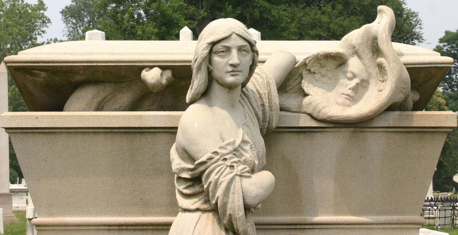 This is a perfect example of the elaborate funerary art one will encounter when visiting Laurel Hill.