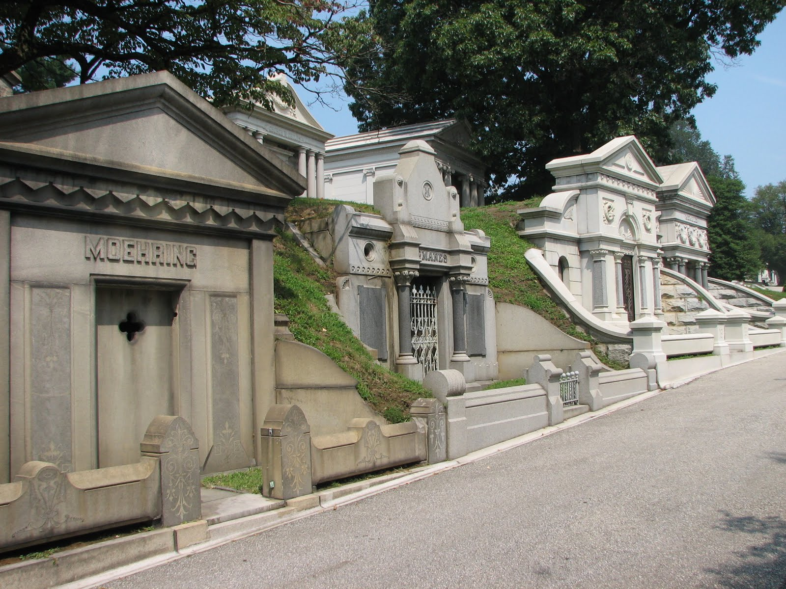 Just a few of the numerous mausoleums that are part of the Laurel Hill Cemetery.