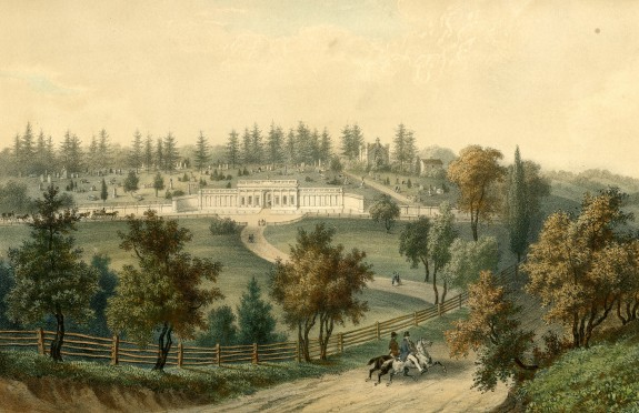 An artist's rendition of Laurel Hill in 1848 with the gatehouse as the focal point.  A small funeral procession can be seen off the left.