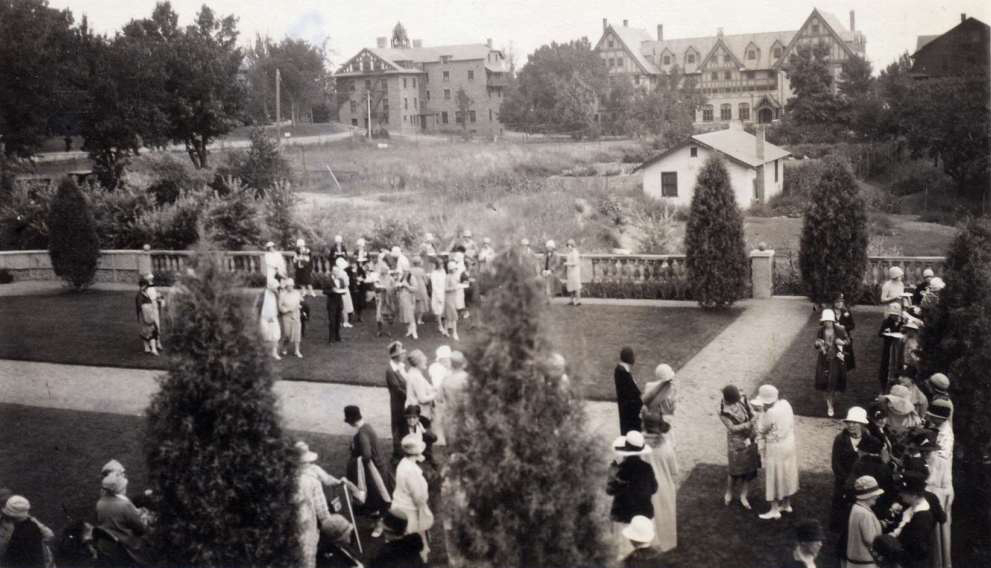 Circa 1920s. Bemis Hall is seen in background, center-right