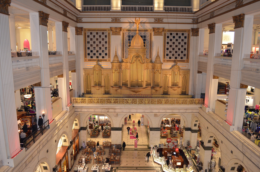 Wanamaker's/Macy's Grand Court with the pipes from its famous organ on full display.