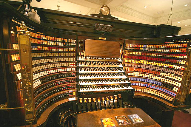 The organ's playing platform with six keyboards and over 420 stops. (Photo from Bibliolore, reproduced under Fair Use)  These, combined with its 28,500 pipes, make it the largest operational organ on the globe.