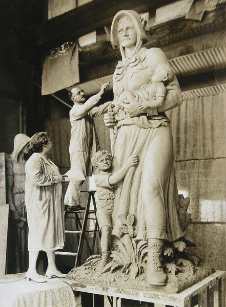 August Leimbach sculpting the Madonna of the Trail figure.