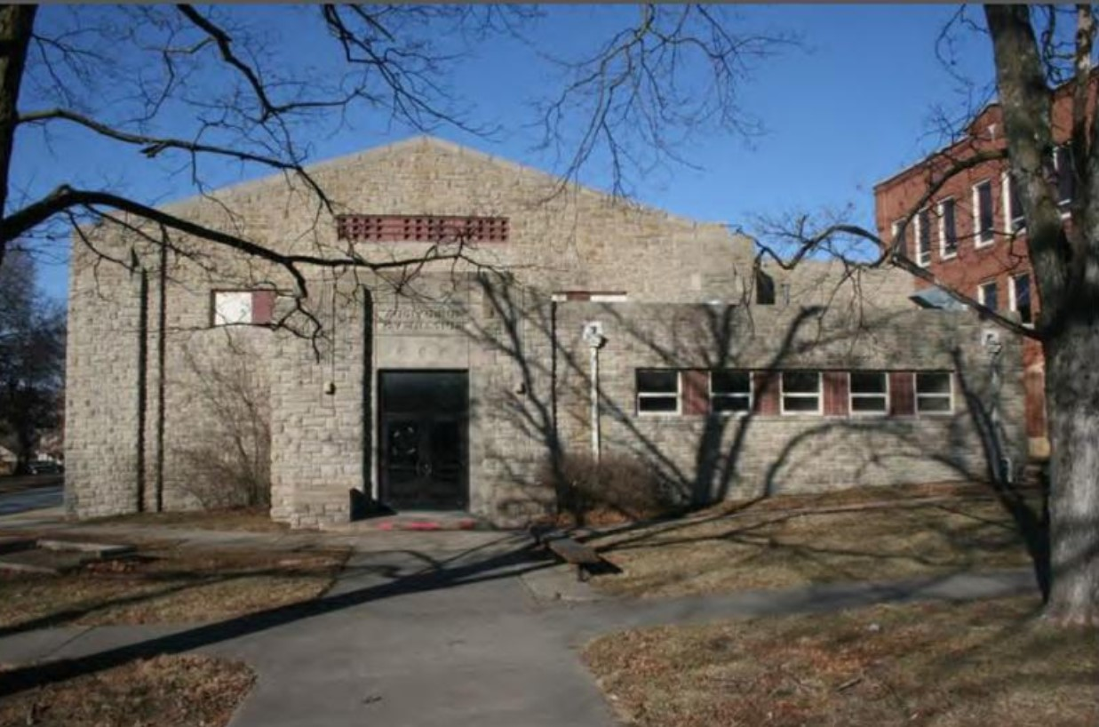 2013 photograph of south/ main elevation of Old Baldwin City Gymnasium by Stan Hernly (KSHS)