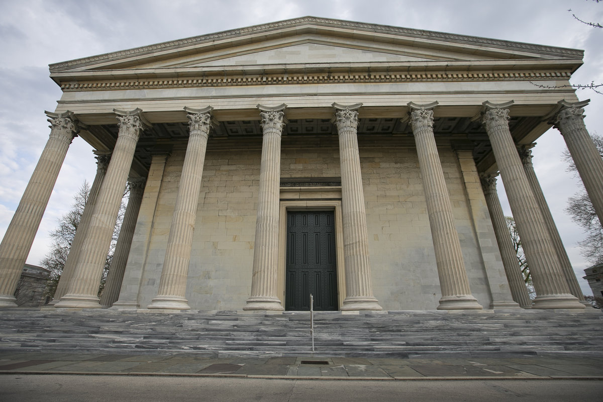 The front side of Founder's Hall with its 65-foot Corinthian columns and massive main entrance.