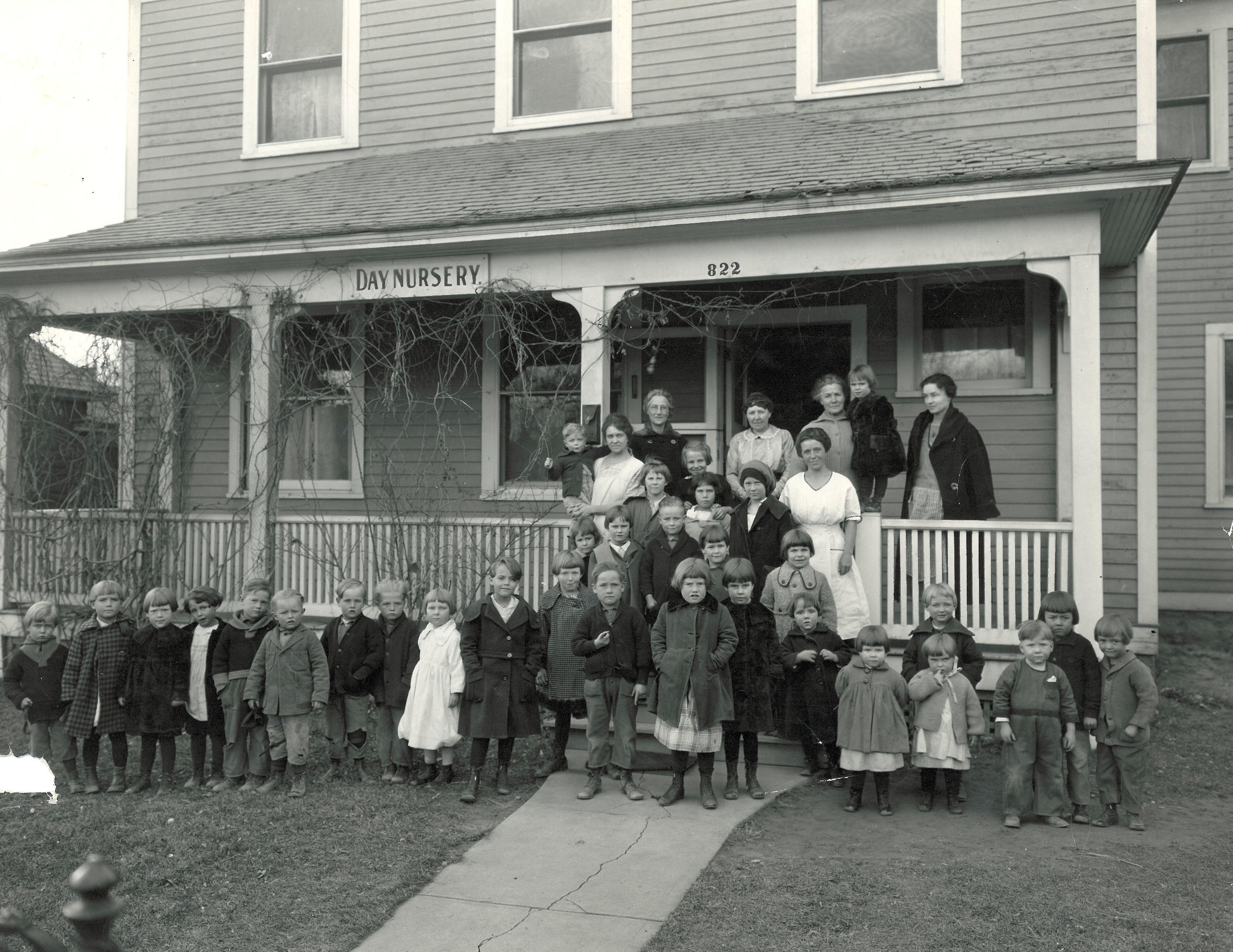 Children and faculty in front of the Nursery not long after it opened.