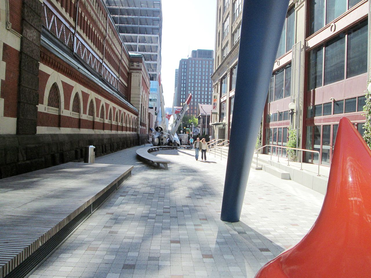 Lenfest Plaza, situated between the Furness-Hewitt Building and the Hamilton Building, is used as an exhibit space for outdoor sculptures.