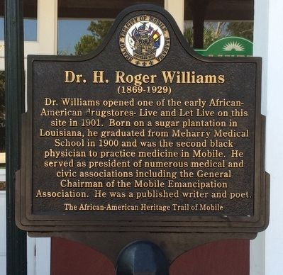 The marker is one of many on the African-American Heritage Trail of Mobile.