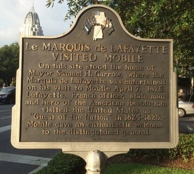 The historical marker is on the corner of Jackson and Government Streets, where the mayor's home once stood.