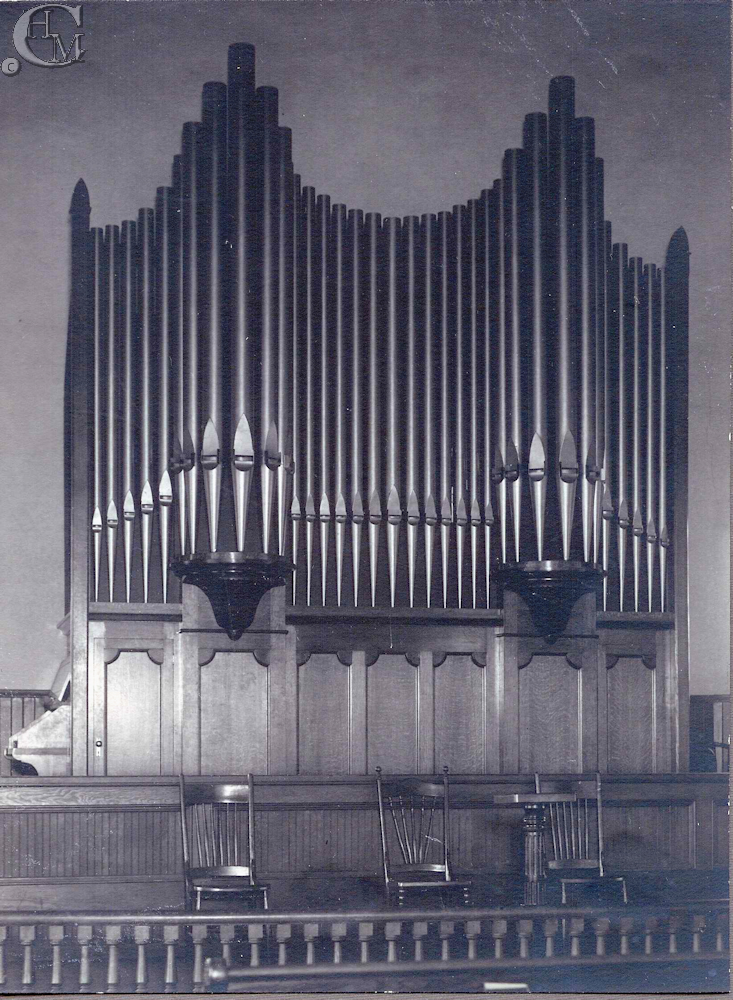 The pipe organ in the sanctuary.