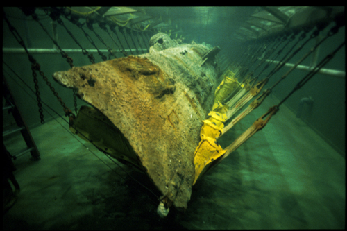 The Hunley in the recovery tank after it was recovered.
