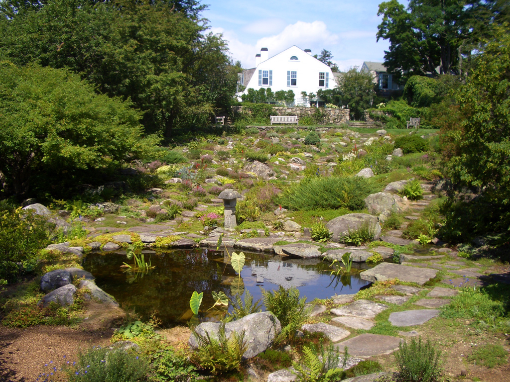 The Fell's Rock Garden with mansion in the background.