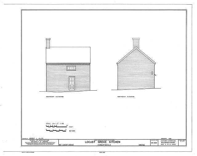 Drawing of the Locust Grove Kitchen from the Historic American Buildings Survey.