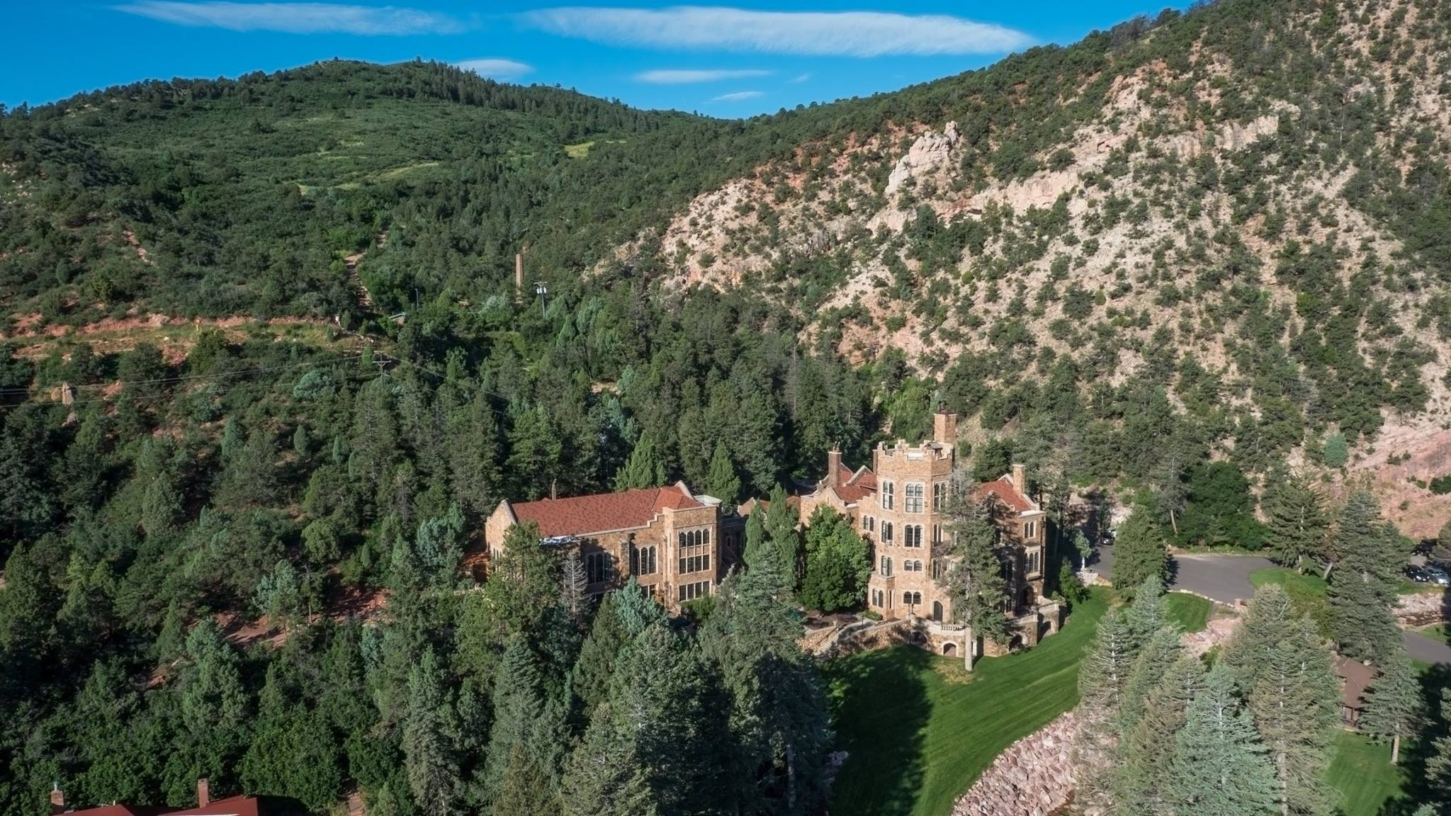 Ariel view of Glen Eyrie with the Garden of the Gods in view