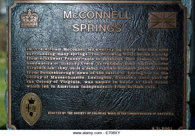 McConnell Springs Park was a campsite for a group of surveyors in 1775, including William and Francis McConnell.
