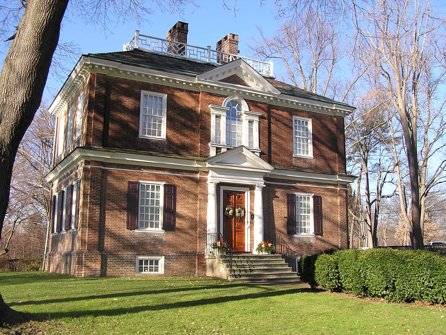 Woodford Mansion, completed in 1758 and expanded in 1772, sits in Philadelphia's Fairmount Park and is now open as a historic house museum.