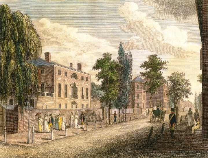 A 1799 painting of 3rd Street by William Birch that includes the Powel House (center right) with its 3-story half-turret.