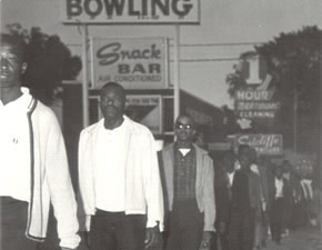 Students march near All Star Bowling Alley (February 1968). Photo courtesy of Cecil Williams.