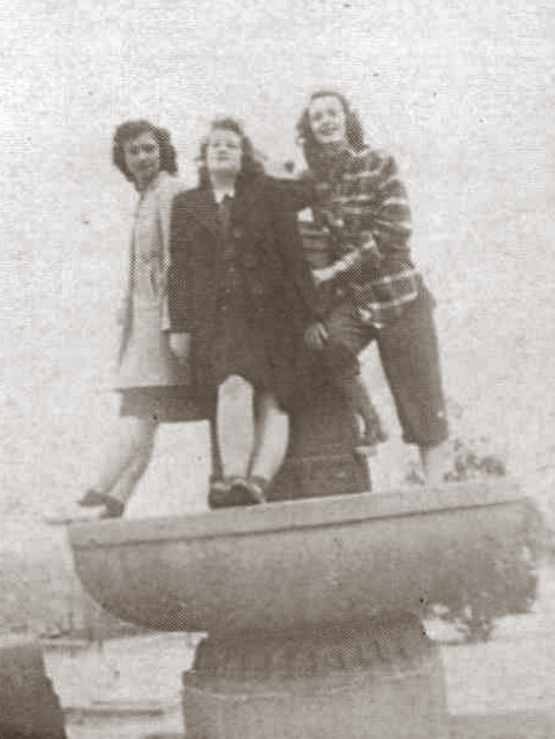 Girls atop the fountain in 1946