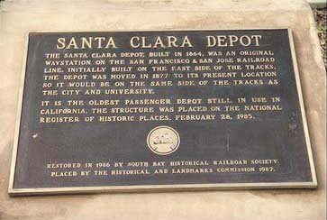 Plaque commemorating Santa Clara Depot