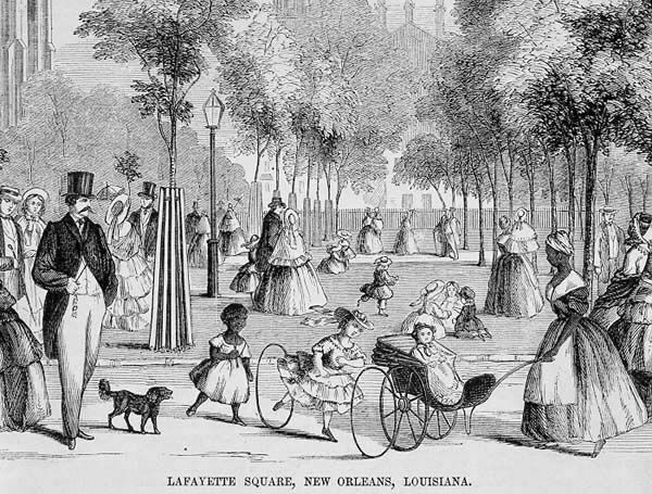 """Illustration of Lafayette Square from """"Ballou's Pictorial"""" (1854)"""