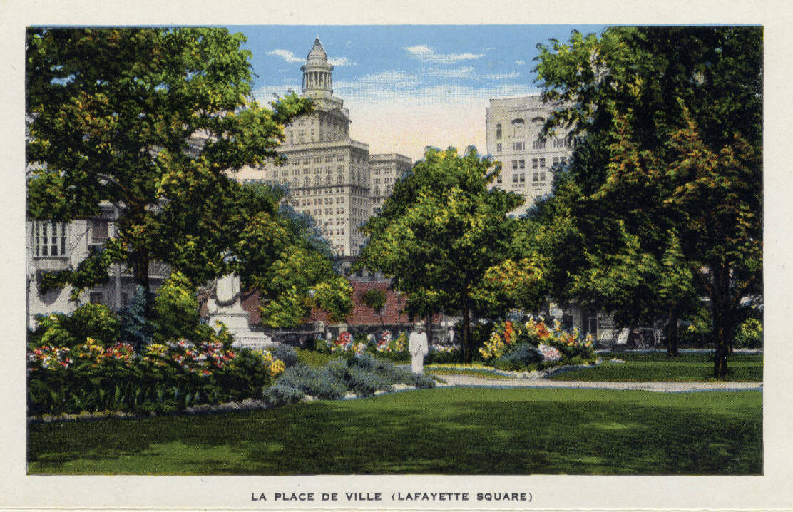 View of Lafayette Square as depicted on an undated historic postcard.