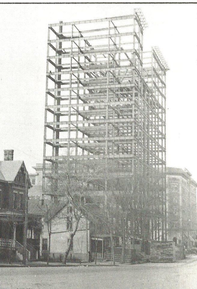The structural steel under construction for the First Huntington National Bank circa 1913. Courtesy of Patrick Morris