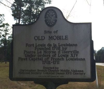 The Site of Old Mobile historical marker. The other side is in French.