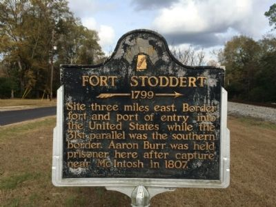 The Fort Stoddert historical marker. The actual site is located three miles to the east.